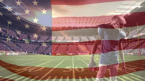 American football player preparing to shoot ball with american flag Animation