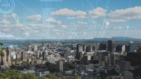 City with rotating data CG動画