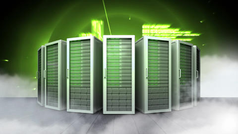 row of green servers and abstract graphics Animation