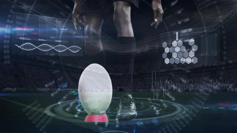 Rugby player shooting a ball in slow motion Animation