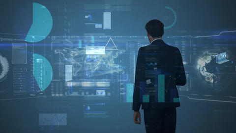 Digital illustration of business man touching futuristic screen Animation