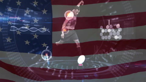 Football player kicking the ball with interface and American flag Animation
