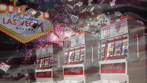 Slot machine falling on grapes while game cards falling down and fireworks goes off against american Animation