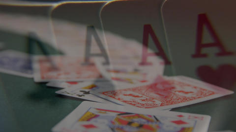 Game cards thrown on card table Animation