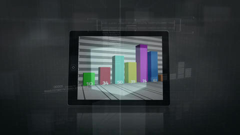 Digital tablet projecting statistical data Animation
