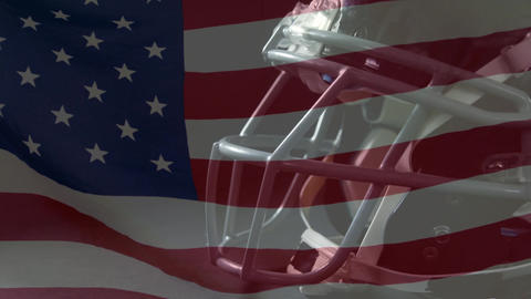 Rugby helmet and American flag Animation
