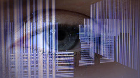 Female open close eye with bar codes Animation