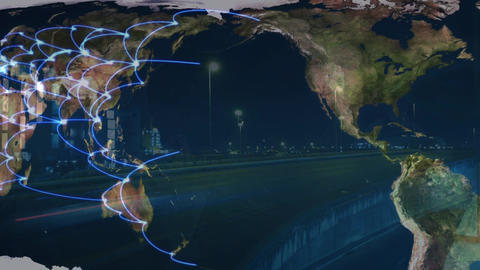 World map with places connected and highway, Stock Animation
