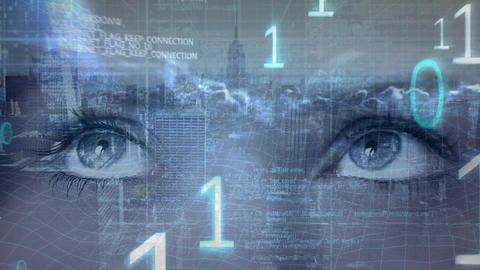 Eyes looking left to right and numbers foreground Animation