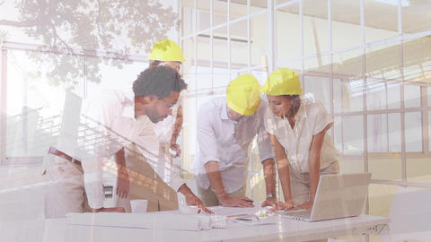 Workers interacting with each other on a building background Animation