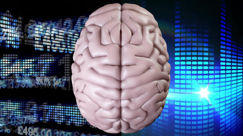 Animation of the top of brain against data financial and light effects Animation