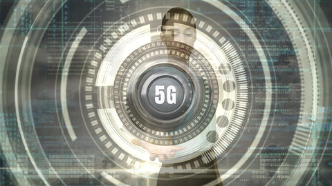 Businesswoman holding a 5g button against a cloudy sky full of data Animation