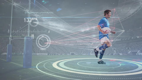Rugby player equipped with sensors running in place Animation