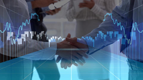 Business peoples interacting with data graphs Animation