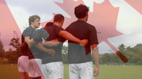 Rugby team standing on the field with a Canadian flag Animation