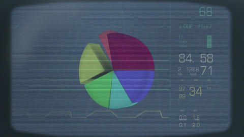 Data charts and diagram appearing and disappearing on an old tv screen Animation