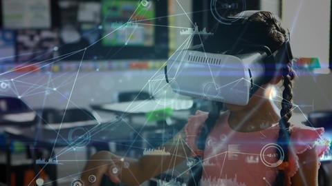 Schoolgirl using vr headset in school room Animation