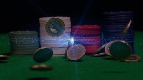 Piles of poker chips with animation of money in free falling Animation