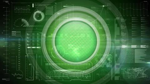 Green circles against futuristic screen Animation