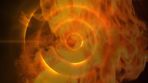 Fire explosion against orange dark background with light circles Animation