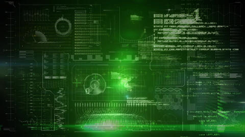 Binary digital interface green background Animation