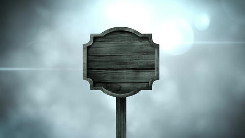 Wooden frame standing against a cloudy background Animation