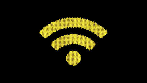 Symbol wifi is knitted from a woolen thread. Knit like a sweater Animation