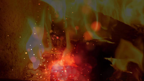 Fire animation with sparks and bubble effects Animation