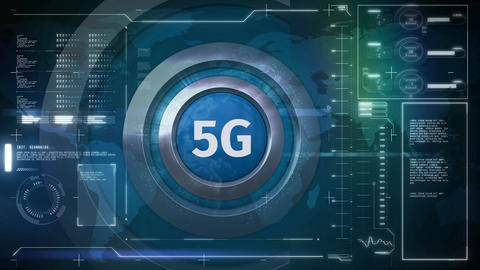 5g logo on a button with a technological background Animation