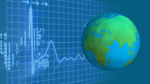 Globe turning around itself with grid cardiogram on background Animation