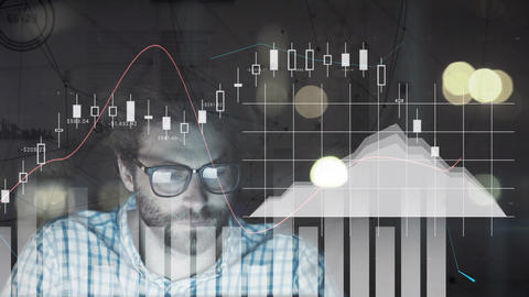 Composition of man surrounded by stock prices and graphics Animation