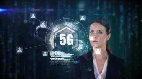 Front view of a businesswoman touching 5g button with light particles on the background Animation