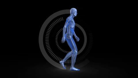 Blue digital human walking on a dark background Animation
