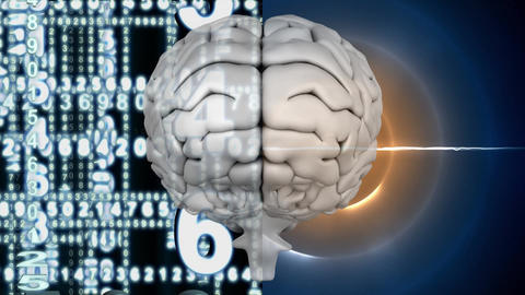 White brain with light circle shining and digital numbers Animation