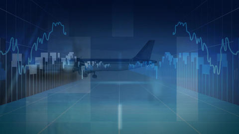 Airplane landing with cars driving and statistical code Animation