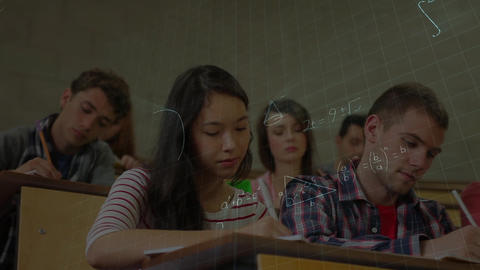 Students taking a notes surounnded by animation of mathematics symbols Animation