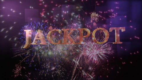 Jackpot Sign against a fireworks display Animation
