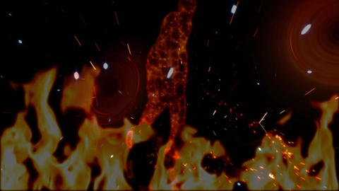 Animation of male dancer prototype in fake fire Animation