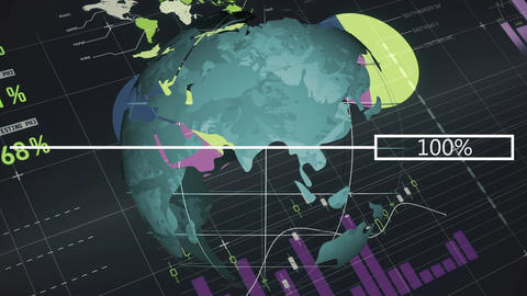 Spinning globe against technology dashboard Animation