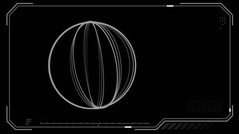 Rotating hoops on a digital screen foreground Animation