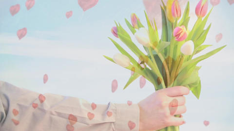 Mid-section of a man holding a bouquet of tulips with a blue sky background Animation