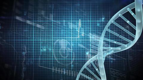 Digital DNA molecule on a digital electrocardiogram background Animation