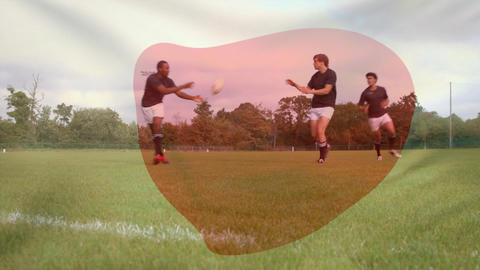 Rugby players passing the ball Animation