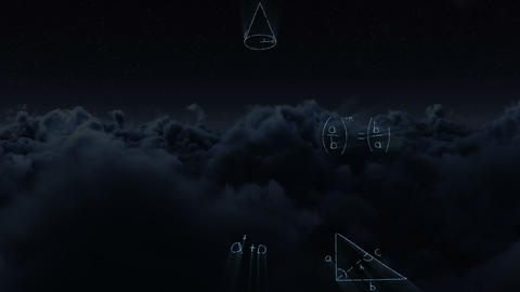 Clouds with maths equations 4k Animation