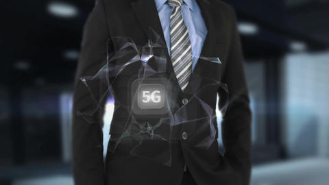 Mid-section of a businessman pressing 5g button Animation