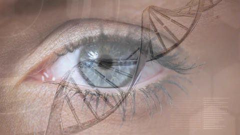 Close-up of woman eye with spinning DNA Animation