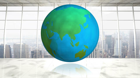 Spinning globe in empty business office 4k Animation
