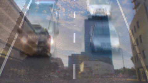 Cars driving on city road Animation