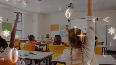 School children raising arms in class with numbers on screen Animation