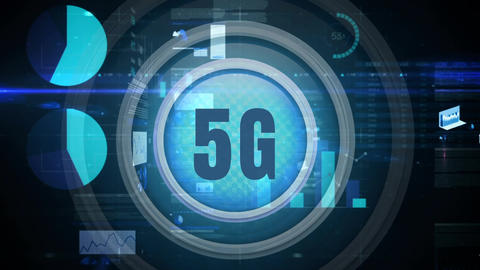 5g button against a dark background with data graphs and charts Animation